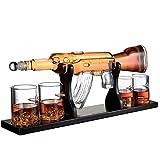 Gun Grande Decanter Set Proiettile Occhiali da Vista, Elegante Fucile Whiskey Decanter 1000Ml con 4 Proiettile Whisky Vetri E Mohogany Base in Legno, Grandi Doni per Chiunque
