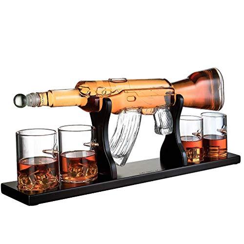 VATRIO Arma Grande De La Bala De La Jarra Gafas, Elegante Rifle Whisky Decanter 1000 Ml con 4 Bala Whisky Vidrios Y Mohogany Base De Madera, Grandes Regalos para Cualquier