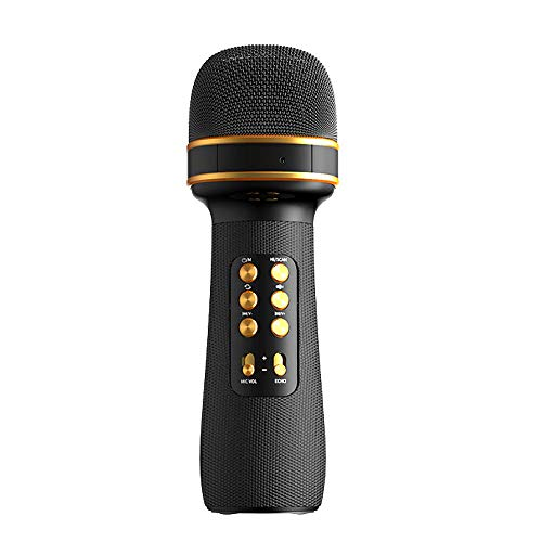 SKYJUNS Bluetooth Wireless Karaoke Microphone with Speaker,Karaoke Microphone,Portable Handheld Microphone,Carpool Karaoke Machine for Christmas Birthday Party Gift for Android/iPhone/PC (Black)