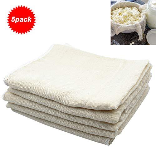 Natuce 5 Stück 40 * 40 cm Quadrat Weiche Baumwollsieb Passiertuch Käsetuch, Filtertuch Ungebleichter waschbarer Sitz für Käsetuch, das Obst, Sojamilch und so weiter (40 * 40)
