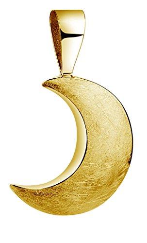 Nenalina Mond Anhänger für Damen Kette oder Halskette gebürstet vergoldet in 925 Sterling Silber, 361306-500