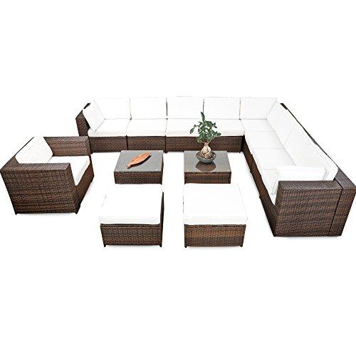 XINRO® erweiterbares 38tlg. Lounge Möbel Set Ecksofa Polyrattan - braun-Mix - Gartenmöbel Sitzgruppe Garnitur Loungemöbel XXXL - inkl. Lounge Ecke + Sessel + Hocker + Tisch + Kissen