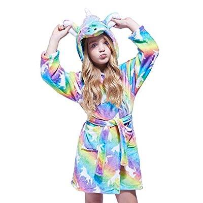 NOUSION Children's Unisex Hooded Bathrobes, Nightgown Flannel Pajamas Robe Unicorn Boys Girls Sleepwear