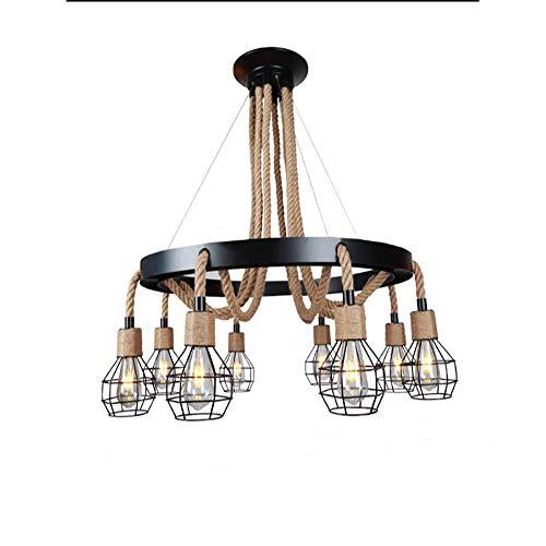 Hennep Touw Kroonluchter, 6 Lichten Hennep Touw Kroonluchter, Retro Landelijke Stijl Opknoping Eiland Hanger Licht Armatuur voor Woonkamer Restaurant