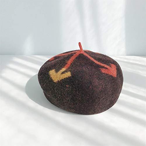HaiNing Zheng Arrow Ms. Bailey herfst en winter cap schilder cap het dikke solide warme retro westerse stijl gebreide muts One sieze Donkere koffie