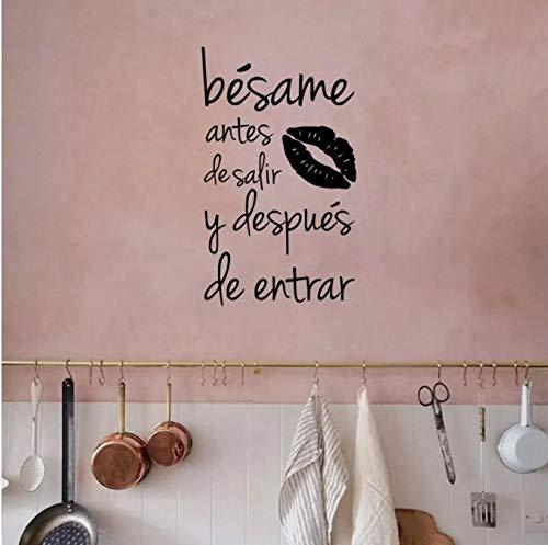 Besame Antes De Salir y Despues De Entrar, pegatina de pared de vinilo española con citas de amor, calcomanías de pared para el dormitorio del hogar/decoración de la sala de estar, 57 cm x 34 cm