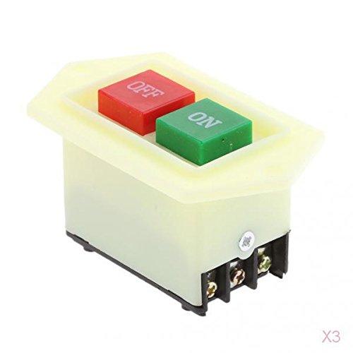joyMerit 3 Banco de Prensa de Taladro Protegido Picadora de Carne Inicio Parada Interruptor de Botón de Montaje Empotrado Encendido/Apagado LC3-5 380V 10A Bo
