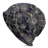 Uliykon Vintage Azul Marino Y Gris Ahumado Floral Unisex Adulto Knit Hat Beanie Sombrero Casual Unisex Moda Caliente Sombrero