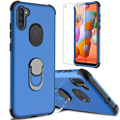 lovpec Galaxy A11 Case with Soft TPU Screen Protector, Ring Holder Kickstand Shockproof Protective Phone Cover Case for Samsung Galaxy A11 / Samsung SM-A115F (Blue)