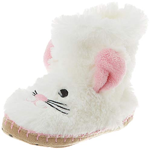 Hatley Unisex-Kinder Animal Slippers Hohe Hausschuhe, Weiß (Bunny 100), Medium (8-10 US)