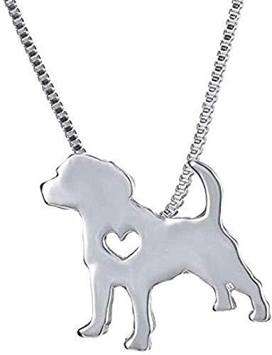 huangxuanchen co.,ltd Collar de Metal con Colgante de Perro para Mascotas, Cadena de diseño de Paseo Familiar para Gatos y Mujeres, Collar de Cadena de Plata para Hombres de Bulldog Lindo, joyería