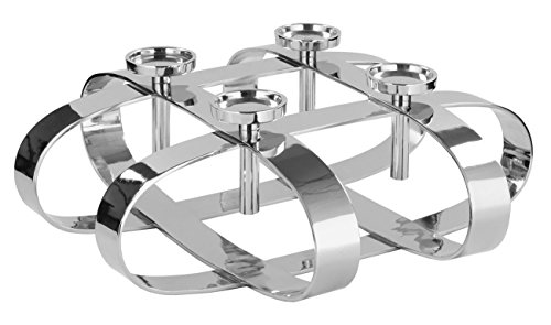 Fink - Leuchter/Adventskranz - Gorden - 4 flammig - Metall vernickelt - Ø 64cm - Höhe 19 cm
