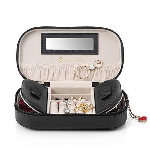 Vlando Schmuckkästchen, klein, tragbar, Kunstleder, Reisen, Schmuck-Box, Organizer, Aufbewahrungsbox, für Halsketten, Ringe, mit Spiegel, schwarz, Schwarz