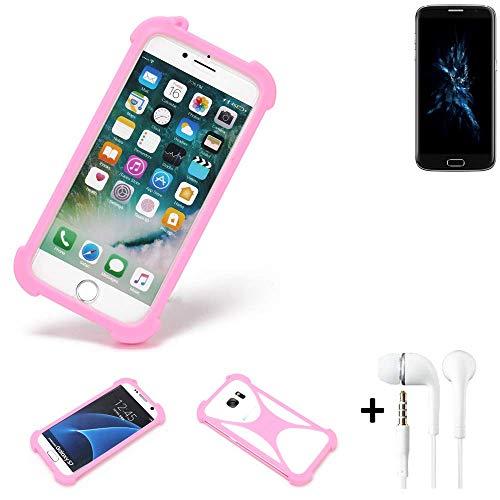 K-S-Trade® Bumper + Kopfhörer Für Bluboo Edge Handyhülle Schutzhülle Silikon Schutz Hülle Cover Case Silikoncase Silikonbumper TPU Softcase Smartphone, Pink (1x)