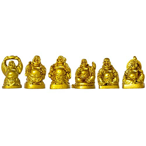 ADDUNE Set of 6 Laughing Happy Buddha Statue Resin Figurines Feng Shui for Luck Wealth Good Gift and Collection (Gold, 1'')