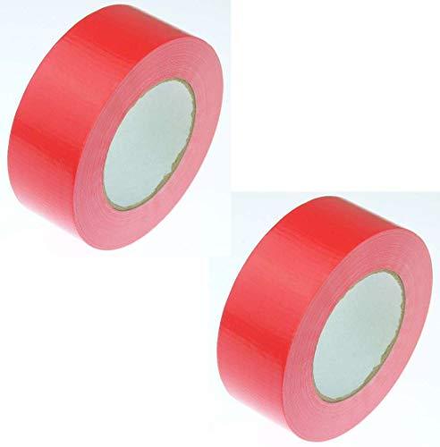 2 Rollen Klebeband Gewebeband 50 m x 48 mm ROT - Panzerband Steinband Gaffa Tape Reparaturband (Rot, 2 Rollen Rot)