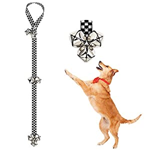 FOLKSMATE Dog Doorbells for Potty Training 1 Pack Potty Bells with 7 Extra Loud Bells Adjustable for Dog Training and Housebreaking – Black and White