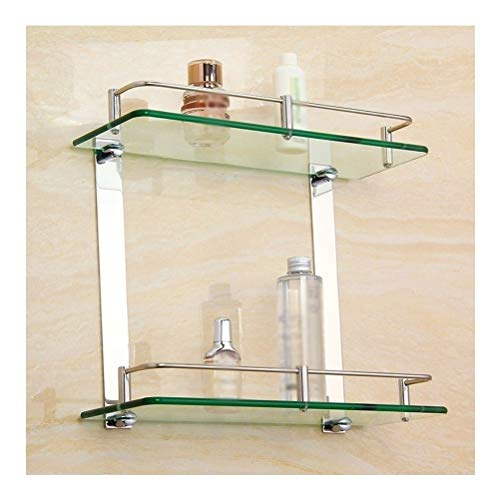 Best Buy! ZHANMAM Bathroom Glass Shelves Aluminum 2 Tier Shower Shelf Caddy Adhesive Storage Basket ...