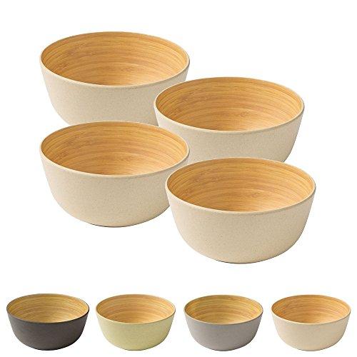 BIOZOYG 4 Piezas Cuenco de bambú de Primera Calidad Verde a 450 ml I vajillade bambú Cuenco de Cereales Cuenco de Fruta Cuenco de Madera Cuenco de la Ensalada Cuenco de la decoración