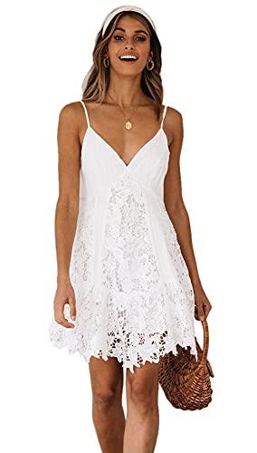 Lath.Pin Mini-Kleid, kurz, aus Spitze, Sommerkleid, sexy, V-Ausschnitt, verstellbare Kleider, mit Trägern, für Damen Gr. X-Large, weiß