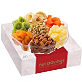 Dried Fruit & Nut Gift Basket Assortment, Red Box Large (7 Mix) - Variety Care Package, Birthday Party Food, Holiday Arrangement Platter, Healthy Kosher Snack Tray for Families, Women, Men, Adults