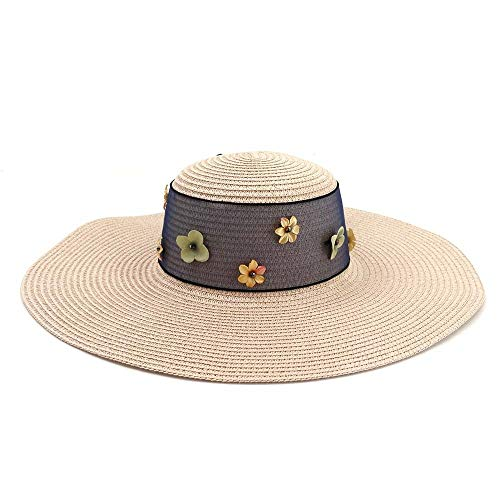Hui Ni New Zonnescherm Hats Beach Hat Koreaanse versie van Wild Women Summer Vacation Ribbon Sunscreen zonnehoed (Color : Pink, Size : 56-58CM)