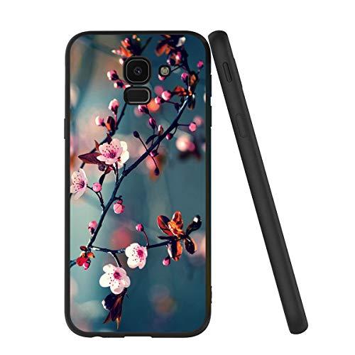 Pnakqil Samsung Galaxy J6 2018 Custodia, Cover Silicone Nero con Disegni 3D Pattern Ultra Slim TPU Morbido Antiurto Bumper Case Protettiva per Samsung Galaxy J6 2018, Fiore di Pesco