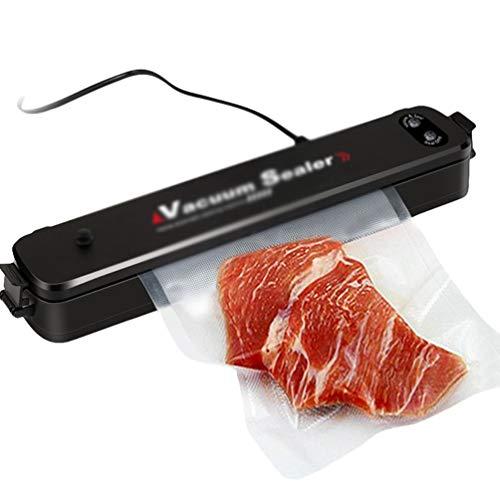 Liangzhu Vakuumierer für Lebensmittel Aufbewahrung Küche Automatische Vakuumiergerät Vakuumieren Maschine mit 15Pcs Vakuumbeutel (Schwarz(Eur), 37 * 7 * 5.2 cm)