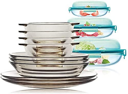 Juego de platos, Conjunto de vajillas de cristal, platos transparentes, platos de 9 piezas y 3 contenedores de almacenamiento, incluidos tazones, placas y recipientes de almacenamiento de vidrio con t