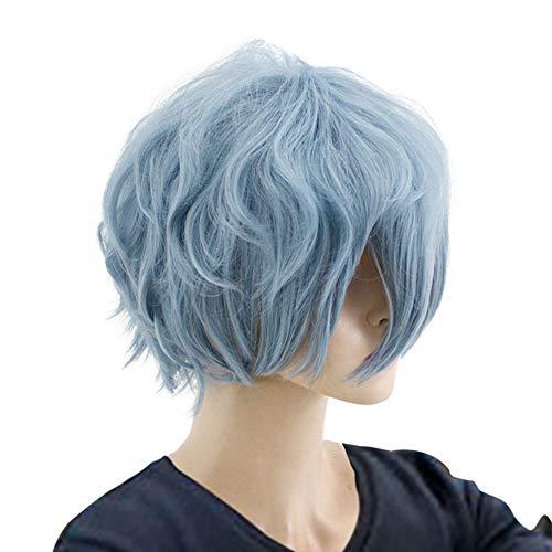 GZIRUE Blau Lockige Kurze Perücke Haar für Jungen Anime My Hero Tomura Shigaraki Cosplay Kostüm Mein Held BNHA Halloween PartyWig