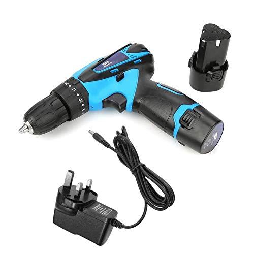 Herramienta de perforación de destornillador eléctrico recargable de taladro eléctrico de la batería 12V (GB), herramienta de perforación de impacto inalámbrico con batería de 12V Destornillador eléct