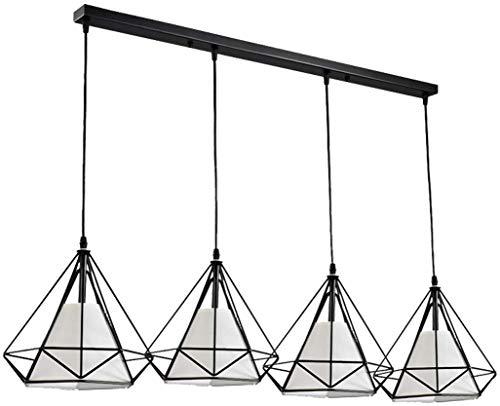 Beautiful Home Decoratielamp, moderne hanglamp, zwart, E27, in hoogte verstelbaar, industriële, verkooplamp, design, diamant, ijzeren kooi met stoffen gordijn
