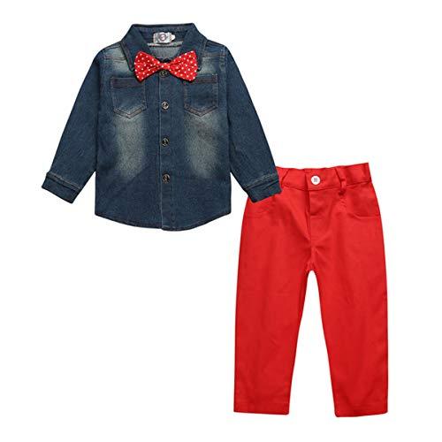 ZNMJW Mały dżentelmen garnitur wiosna i jesień przystojny dżentelmen chłopiec garnitur, dżinsowa koszulka + czerwone spodnie 2 zestawy, odpowiedni dla dzieci w wieku 3-8 lat