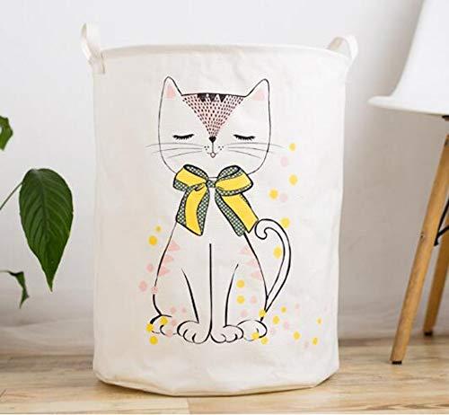 XIAOBAOZIXYL grote vouwen wasmand cartoon kat opslag barrel katoen linnen vuile kleding mand speelgoed opbergtas