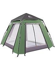 HEWOLF namiot kopułowy, namioty Pop Up na 3-4 pebelki, automatyczny namiot kempingowy wodoodporny z werandą, 2-drzwiowy i 2-panelowy dwuwarstwowy namiot do ogrodu wędkarstwa na plażę