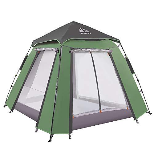 Hewolf Kuppelzelt 3-4 Personen Wurfzelt Pop up Zelt Automatisches Camping Wasserdichtes Zelt mit 2 Türen und 2 Fenster Doppelschichtzelt für Garten Angeln Strand (sarmy Green)