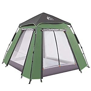 HEWOLF instant pop up tent - 3-4 pepole automatic quick setup waterproof family dome tent, two-door and two-pane bureau double layer pop-up tent for camping,fishing,garden,beach