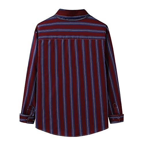 D-Rings Camisa de manga larga para hombre, para el tiempo libre, para negocios, corte regular, ajustada, de...