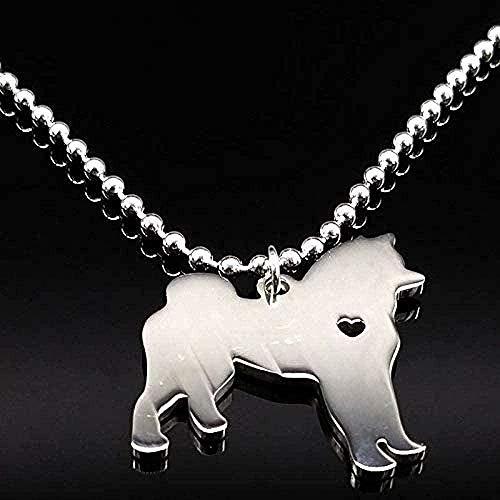 ZHIFUBA Co.,Ltd Collar de Moda con Etiqueta de Perro, Collares con Colgante de Acero Inoxidable para Mujer, Bonito Collar de Perro de Color Plateado, Regalo de joyería