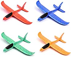 JUNBESTN 4 Pack Airplane Toy, Gift for 3 4 5 6 7 Year Old Boy 15 in Foam Plane Flying Glider Airplane, Manual Throwing Model Foam Aircraft, Outdoor Sports Flying Toy, Birthday Party Favors