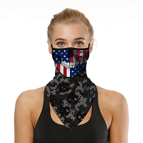 SRVOKOX American Flag Skull Bandana Neck Gaiter Face Mask Covering Bandanas for Men Women Summer UV Cooling Face Scarf Mask Cover Ear Loop Hole Triangle Facemask Headbands for Fishing Running Cycling