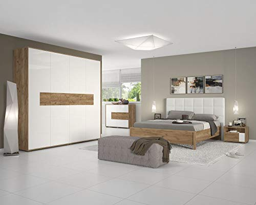 Schlafzimmer Komplett - Set A Manase, 5-teilig, Farbe: Eiche Braun/Weiß Hochglanz