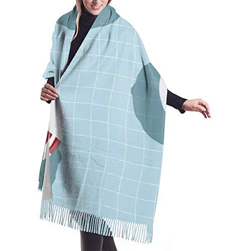 H.D. Womens Winter Schal Cashmere Feel Pattern Aufblasbare Rettungsring Float Schals Stilvolle Schal Wraps Weiche Warme Decke Schals Für Frauen