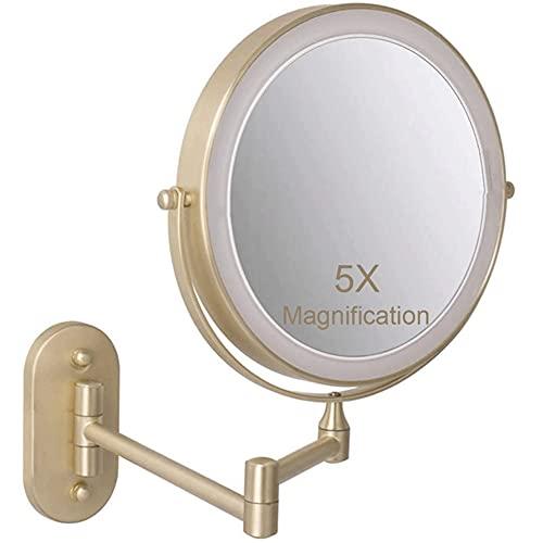 MRJ Espejo Maquillaje con Luz LED Aumento 1X/5X Espejo Cosmético Iluminoso de...