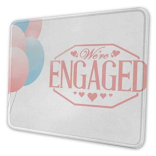 Verlobungsfeier DIY Mauspad Wir sind verlobt Feier Zitat Karte mit Luftballons Herzen Bild Mauspad für Männer Lustig Hellrosa und Blau