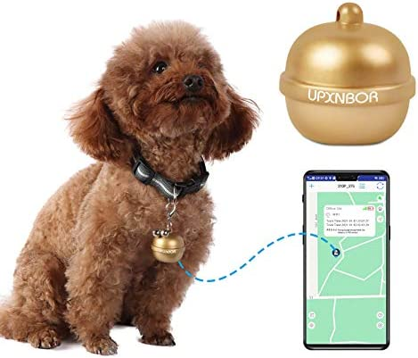 UPXNBOR Pet GPS Tracker with Collar Bells Design Dog Cat GPS Tracking Collar Device APP Control product image