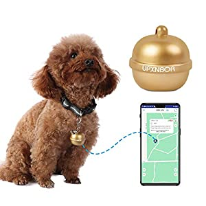 UPXNBOR Pet GPS Tracker with Collar, Bells Design Dog Cat GPS Tracking Collar Device, APP Control for Dogs Cats Activity Monitor, Waterproof IP67 Dog GPS Tracker Collar | Utilizes GPS, WiFi and LBS