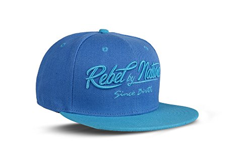 RebelByNature RC2 - Snapback Cap Font Mütze Unisex Kappe Hat Sport Baseball 100% Acryl - Collection No1-6Panel ORIGINAL Rebel™ - Beach-Blue
