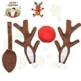 godoboo Rentier Auto Rudolf für Auto Rentier kostüm 43cm Weihnachtsdeko für Truck Van SUV Weihnachten Elchgeweih mit Geweih und Roter Nase und und Braunes Schwanz Dekoration Kit Anzug für alle Arten