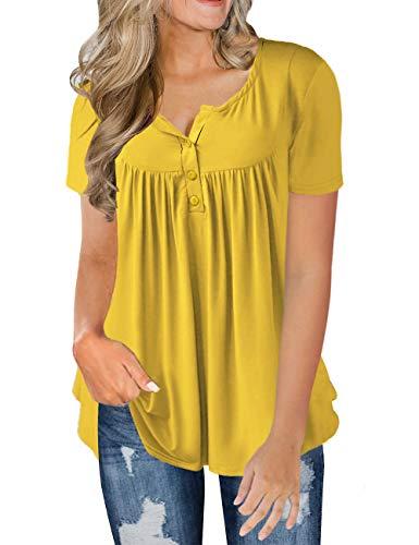 FOLUNSI Plus Size Short Sleeve Shirt for Women Plus Tunic Tops Spring Blouses (Yellow, 3X)